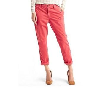 Gap Girlfriend Chino Mid Rise Stretch coral pants